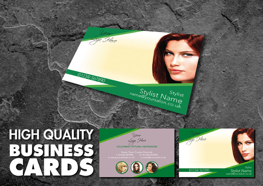 Full Colour Double Sided Business Cards for Hair Salon Green Design ...
